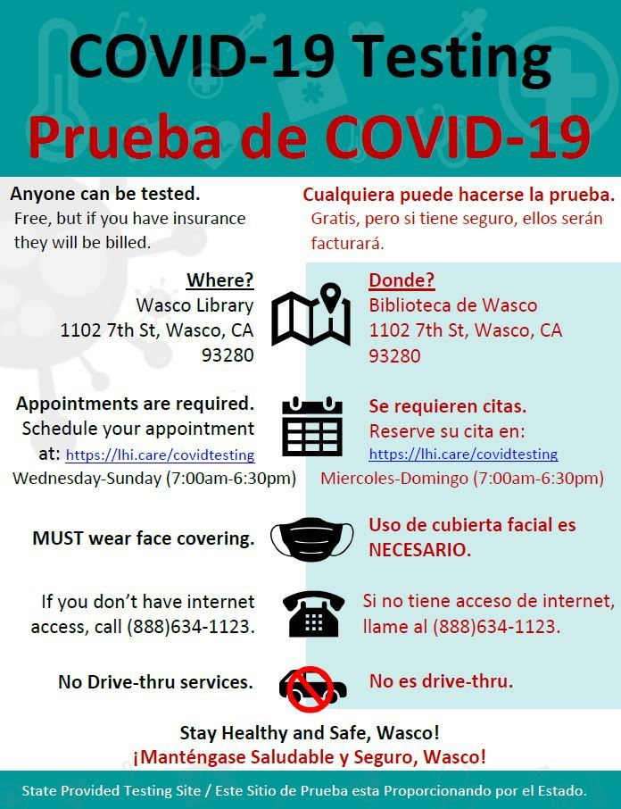 COVID-19 Test Site (Wasco Library)
