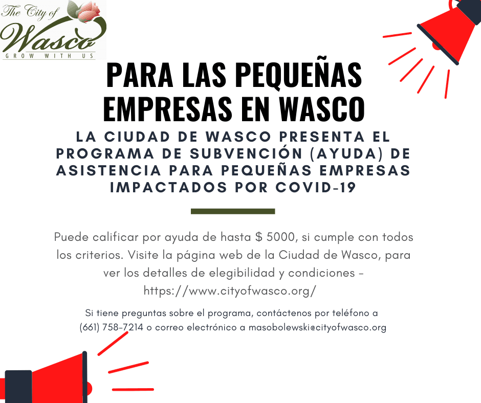 Calling All Wasco Small Businesses_Spanish